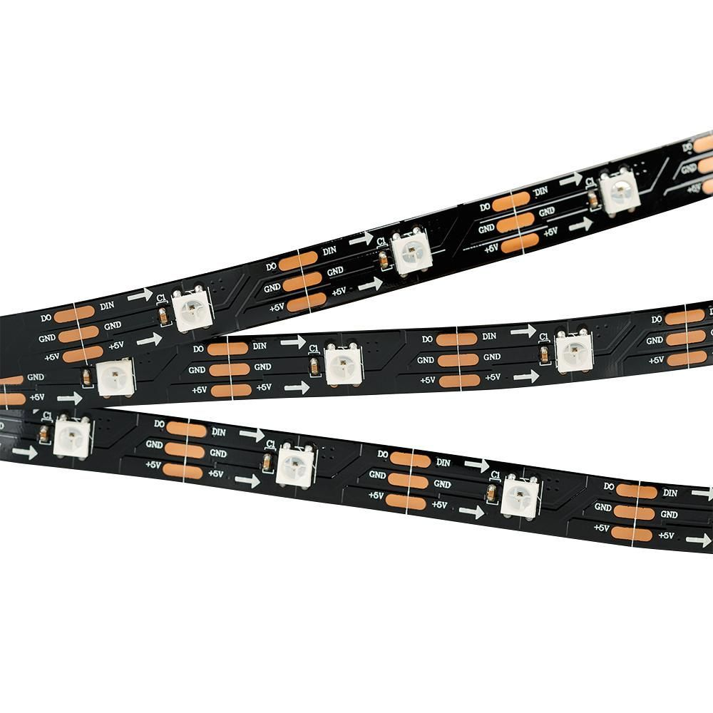 Лента SPI-5000-AM 5V RGB (5060, 150 LED x1, 2812, Black)